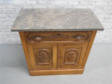 ANTIQUE WASHSTAND/COMMODE WITH MARBLE TOP