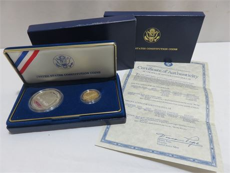 1987 United States Constitution Coin Series Silver Dollar and Gold 5 Dollar Set