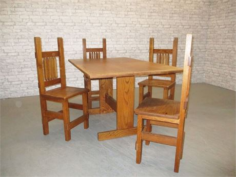 VINTAGE OAK TRESTLE TABLE AND CHAIRS