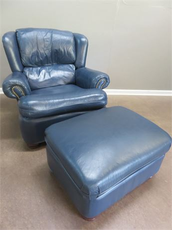 LANE FURNITURE Blue Leather Recliner & Ottoman