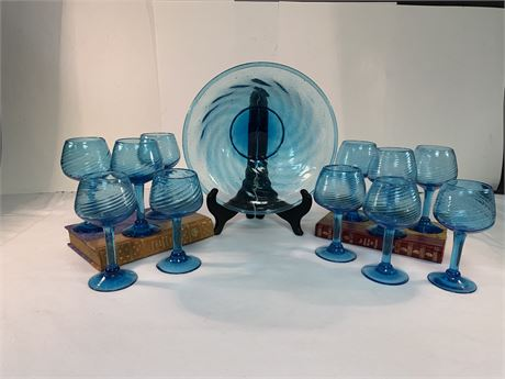 Turquoise 11 Goblets & Bowl