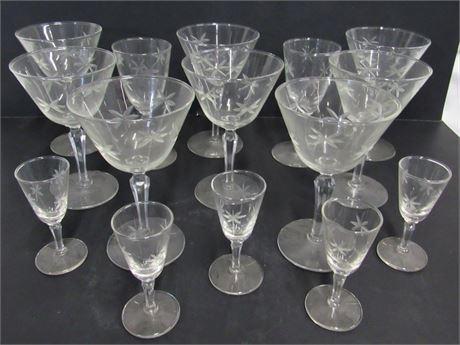 15 Piece Cut Glass Stemware Lot