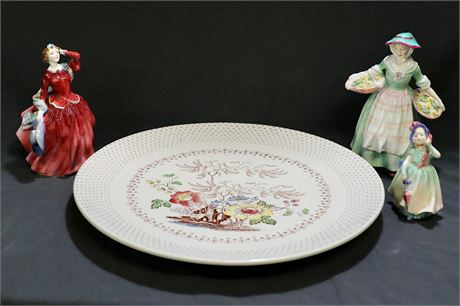 Vintage lot of 3 Ladies of Royal Doulton Plus a Royal Doulton Grantham Plate