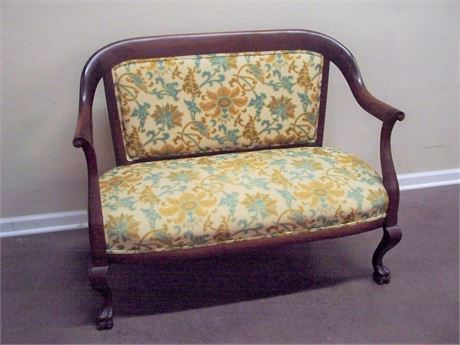 ANTIQUE FLORAL UPHOLSTERED SETTEE