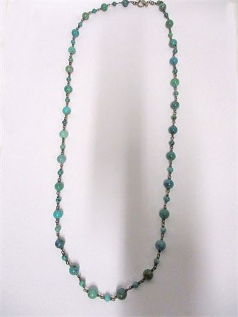 "34"" TURQUOISE AND STERLING NECKLACE"
