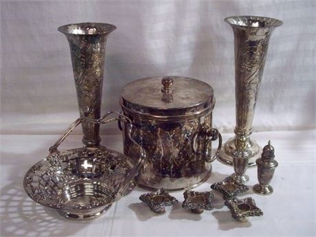 8 PIECE SILVER-PLATE LOT AND STERLING SALT AND PEPPER SHAKERS