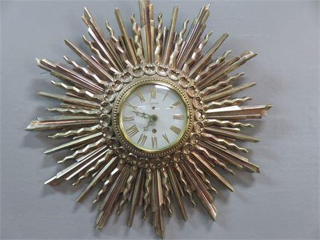 SYROCO Mid-Century Sunburst Wall Clock