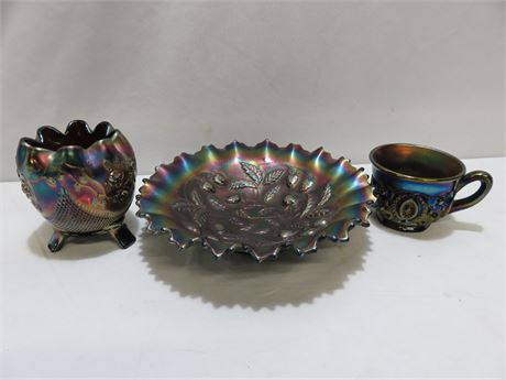 3-Piece Irridescent Carnival Glass Lot - NORTHWOOD