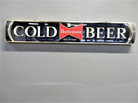Vintage Anheiser Budweiser Cold Beer Sign