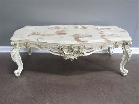 Vintage French Provincial Coffee Table with Heavily Carved Details