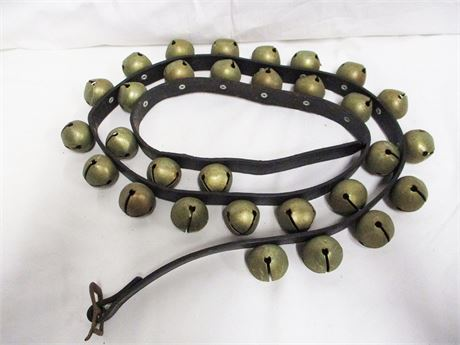 VINTAGE SLEIGH BELLS ON LEATHER HARNESS