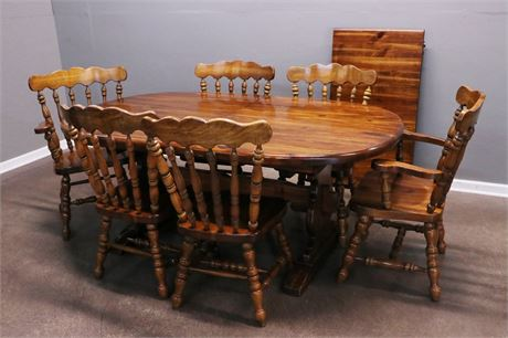 Distressed, Solid Wood Dining Table with 6 chairs (2 Captains) and a leaf