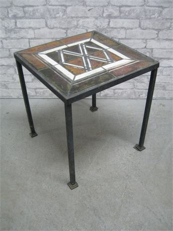 HEAVY WROUGHT IRON SIDE TABLE WITH TILE TOP