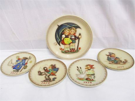 LOT OF 5 COLLECTIBLE GOEBEL ANNIVERSARY PLATES 1972-1975