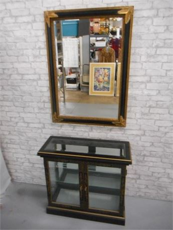 LARGE GOLD AND BLACK LACQUER  BEVELED GLASS MIRROR