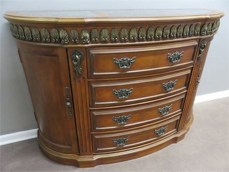 Marble Top Bow Front Sideboard