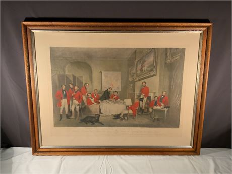 "ANTIQUE 1839 ORIGINAL FRANCIS GRANT ""THE MELTON BREAKFAST"" DOG HUNTING"