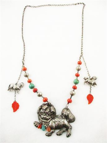 ANTIQUE CHINESE FOO DOG NECKLACE