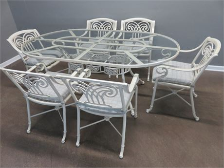 Indoor/Outdoor Glass Top Wrought Iron Dining Set
