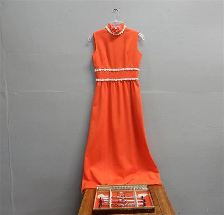 Vintage Red/Orange Dress and Valet Set