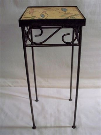 SMALL WROUGHT IRON TILE TOP TABLE