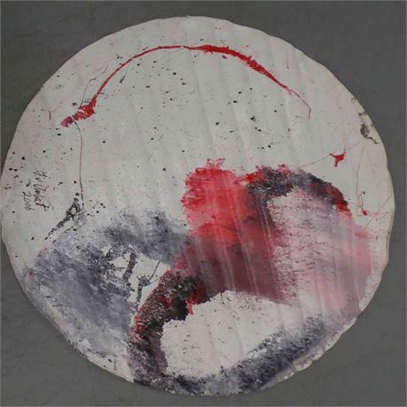 Jet Art Painting - Round in black, red and gray