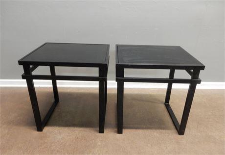 Black Metal and Smokey Glass Side Table Set
