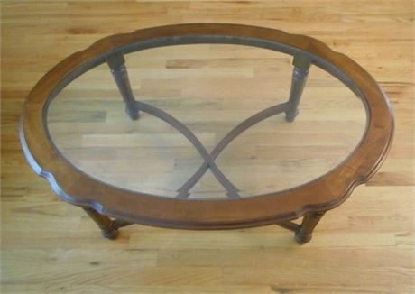 BEVELED GLASS AND WOOD COFFEE TABLE