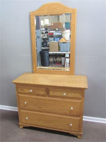 Small Oak Dresser with Mirror