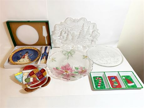 Lot of Holiday Serving Platters