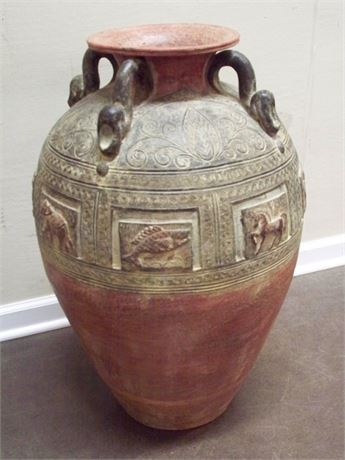 LARGE CLAY/POTTERY FLOOR VASE/URN