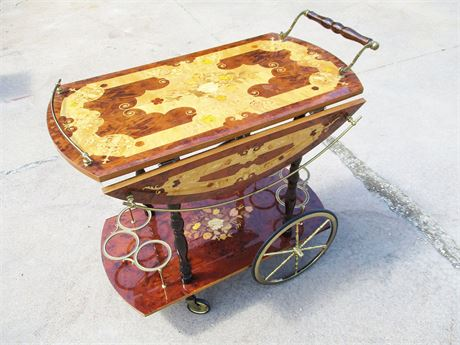 EXQUISITE VINTAGE INLAID BAR CART