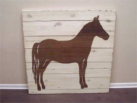 LARGE RUSTIC FOLK ART HORSE PAINTING ON BOARDS