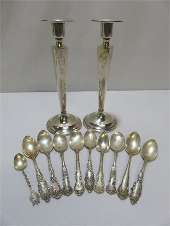 Vintage Sterling Silver Candle Holders & Spoons