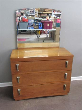Mid Century Modern 3 Drawer Dresser with Mirror