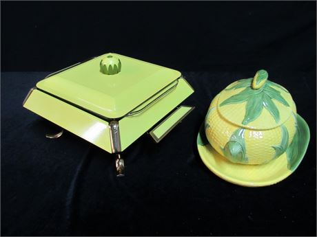 3 Piece Lot MCM Chaffing Dish and Corn Cob Platter and Covered Casserole