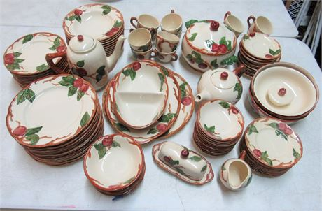Large Lot of Franciscan Ware Apple Pattern Dinnerware - 87 Pieces