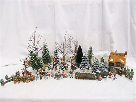 LOT OF CHRISTMAS VILLAGE ACCESSORIES FEATURING DEPT. 56