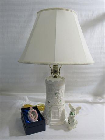 3 Piece lot including a Belleek Lamp