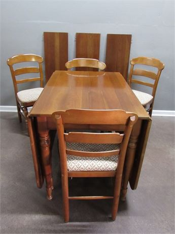 Vintage Herald Furniture Drop-leaf Cherry Dining Table with 4 Chairs & 3 Leaves