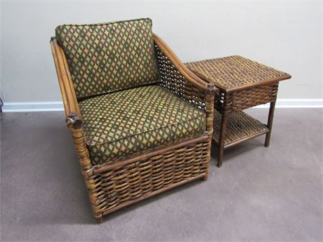 PALECEK WICKER CHAIR AND SIDE TABLE