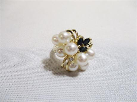 PEARL/SAPPHIRE RING