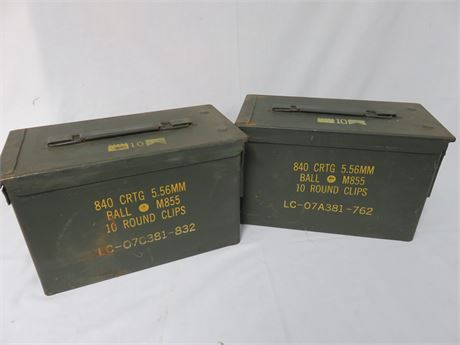 O.D. Green Military Surplus 5.56mm Ammo Boxes