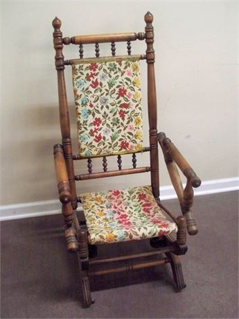 ANTIQUE VICTORIAN PLATFORM ROCKING CHAIR