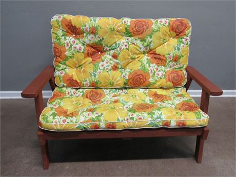 Vintage Painted Redwood Style Outdoor/Patio Loveseat