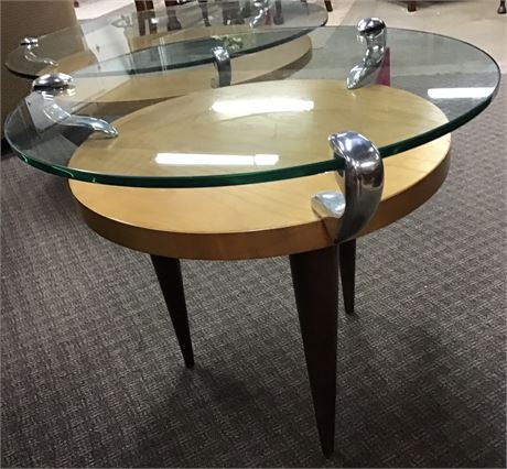 Modern Glass top Blonde wood end side Table