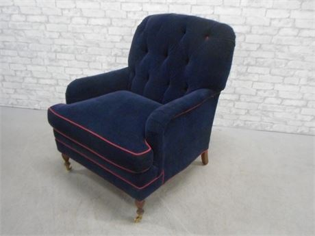CHARLES STEWART CO. NAVY BLUE UPHOLSTERED OCCASIONAL CHAIR WITH RED PIPING/TRIM