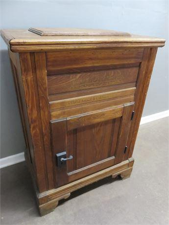 Antique Leonard Cleanable Solid Oak Ice Box