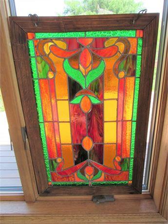 Vintage Leaded Stained Glass Window in Oak Frame