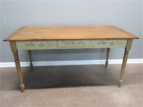 Vintage Farm House Style Dining Table with Painted/Stenciled Sides